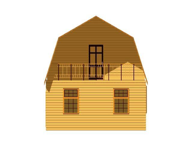 Дачный брусовой дом 6х6 с балконом.